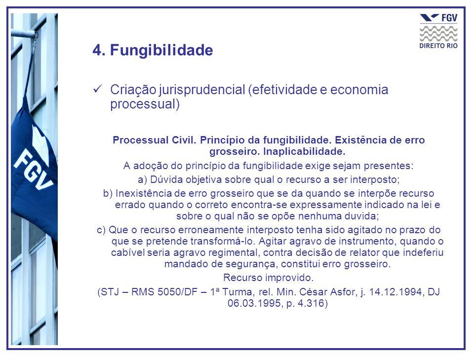 4. Fungibilidade Criação jurisprudencial (efetividade e economia processual) Processual Civil. Princípio da fungibilidade. Existência de erro grosseir