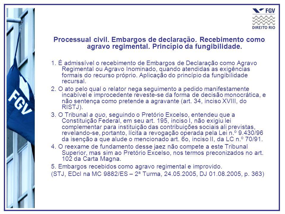 Processual civil. Embargos de declaração. Recebimento como agravo regimental. Princípio da fungibilidade. 1. É admissível o recebimento de Embargos de