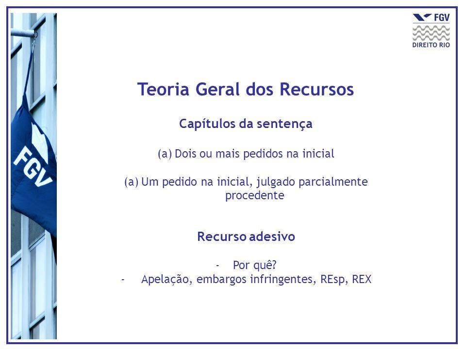 Teoria Geral dos Recursos Requisitos intrínsecos - Cabimento e adequação -Interesse recursal: sucumbência -Legitimidade recursal -Inexistência de fato impeditivo ou extintivo Requisitos extrínsecos -Tempestividade -Preparo -Regularidade formal