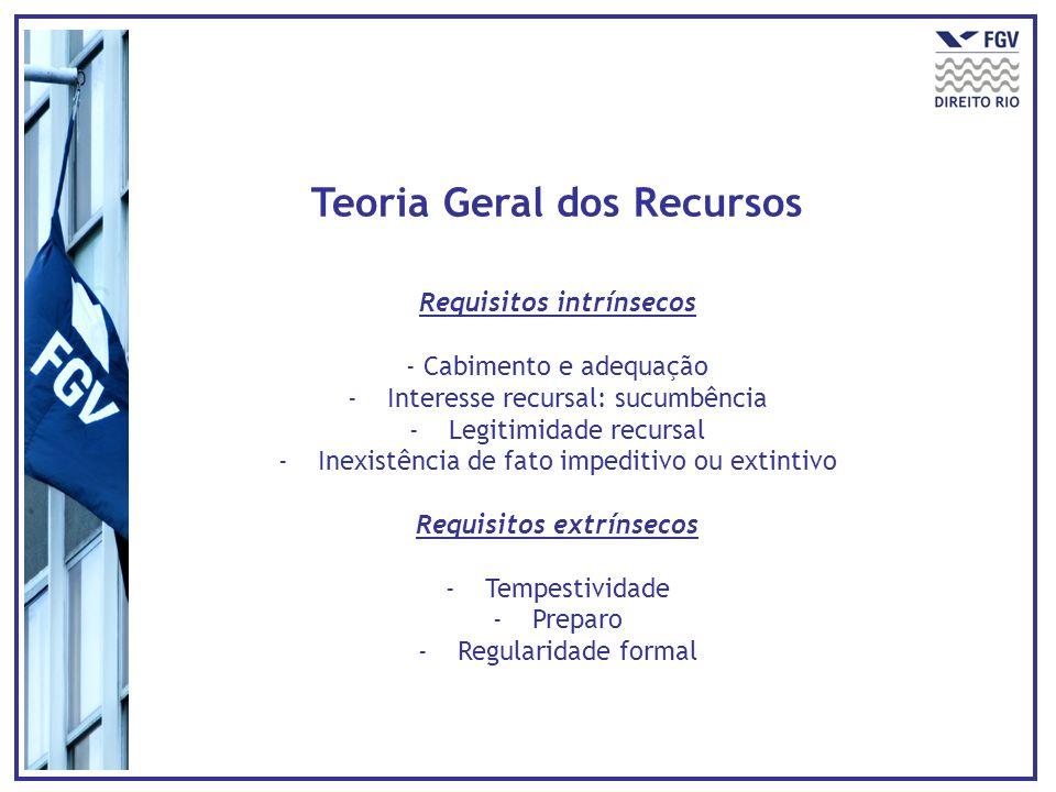 Teoria Geral dos Recursos Requisitos intrínsecos - Cabimento e adequação -Interesse recursal: sucumbência -Legitimidade recursal -Inexistência de fato