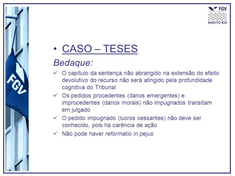 CASO – TESES Bedaque: O capítulo da sentença não abrangido na extensão do efeito devolutivo do recurso não será atingido pela profundidade cognitiva d