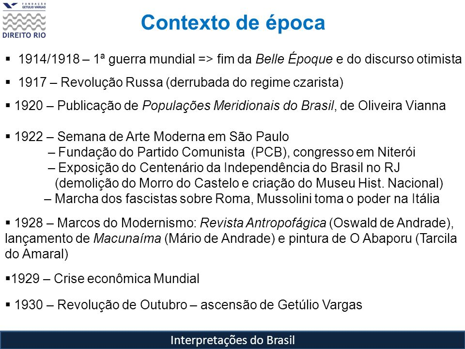 Interpretações do Brasil Contexto de época 1914/1918 – 1ª guerra mundial => fim da Belle Époque e do discurso otimista 1917 – Revolução Russa (derruba