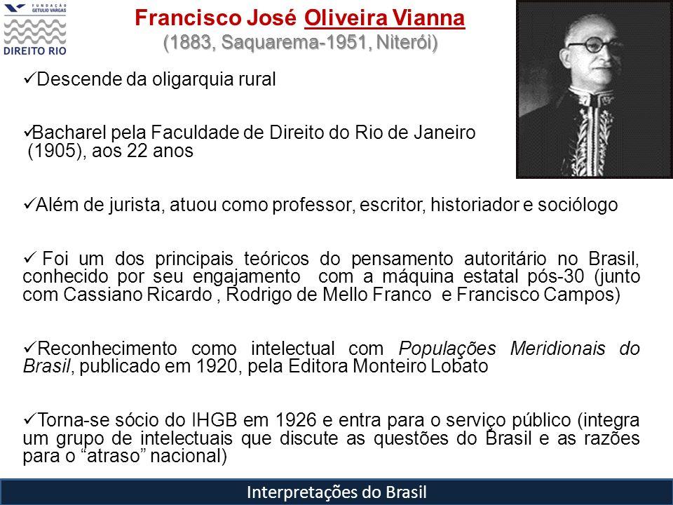 Interpretações do Brasil Francisco José Oliveira Vianna (1883, Saquarema-1951, Niterói) Descende da oligarquia rural Bacharel pela Faculdade de Direit