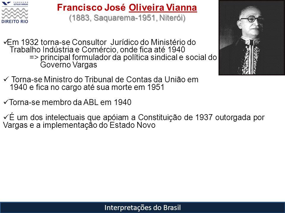 Interpretações do Brasil Francisco José Oliveira Vianna (1883, Saquarema-1951, Niterói) Em 1932 torna-se Consultor Jurídico do Ministério do Trabalho