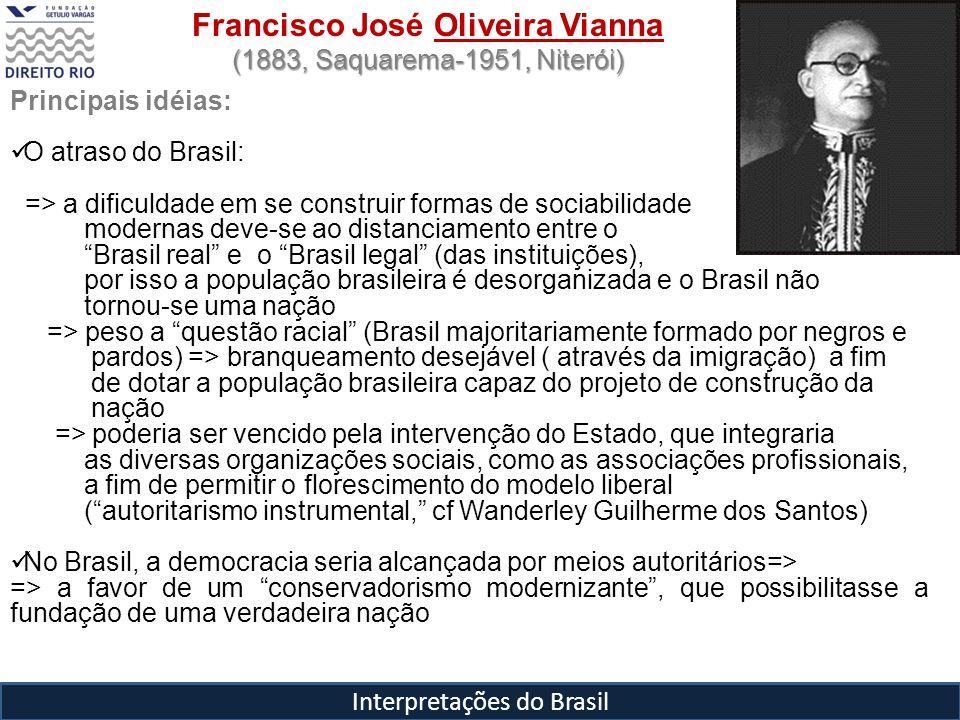 Interpretações do Brasil Francisco José Oliveira Vianna (1883, Saquarema-1951, Niterói) Principais idéias: O atraso do Brasil: => a dificuldade em se