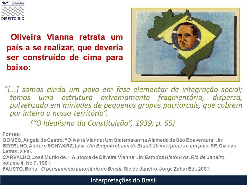 Oliveira Vianna retrata um país a se realizar, que deveria ser construído de cima para baixo: [...] somos ainda um povo em fase elementar de integraçã