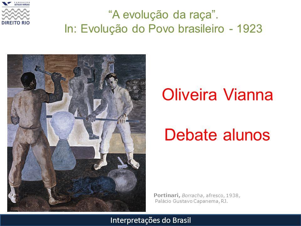 Interpretações do Brasil Portinari, Borracha, afresco, 1938, Pal á cio Gustavo Capanema, RJ. Oliveira Vianna Debate alunos A evolução da raça. In: Evo