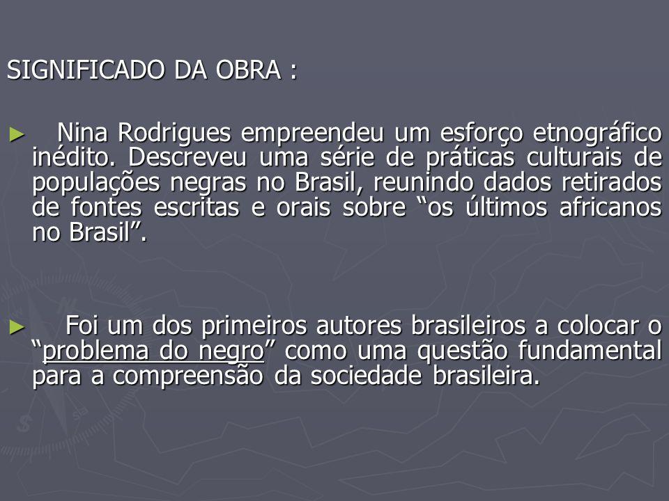 SIGNIFICADO DA OBRA : Nina Rodrigues empreendeu um esforço etnográfico inédito.