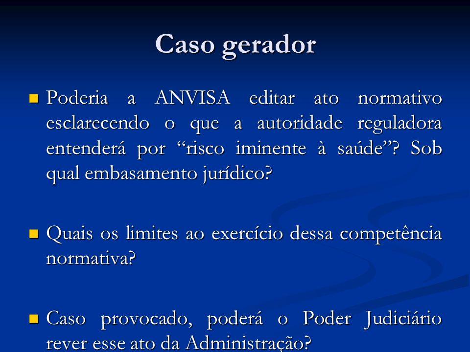 Caso gerador Poderia a ANVISA editar ato normativo esclarecendo o que a autoridade reguladora entenderá por risco iminente à saúde? Sob qual embasamen