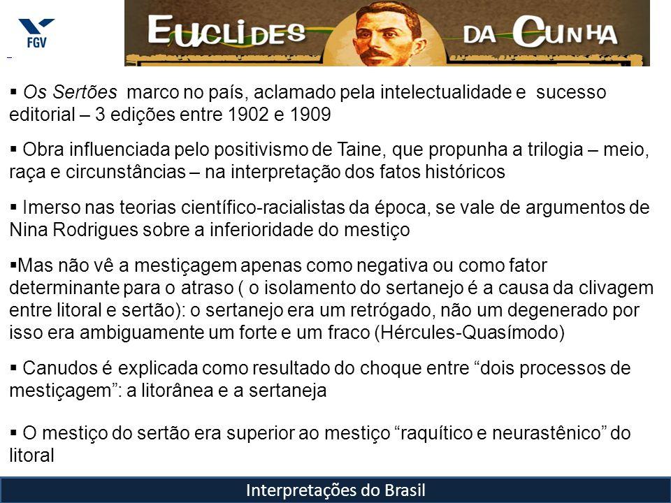 Interpretações do Brasil Os Sertões marco no país, aclamado pela intelectualidade e sucesso editorial – 3 edições entre 1902 e 1909 Obra influenciada