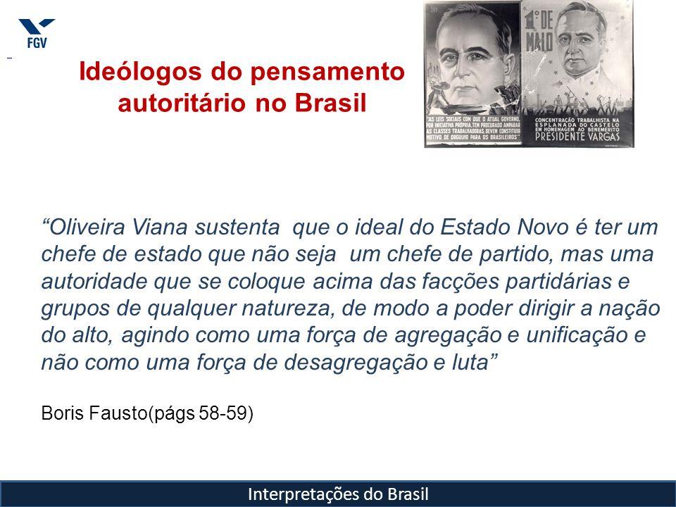 Interpretações do Brasil Ideólogos do pensamento autoritário no Brasil Oliveira Viana sustenta que o ideal do Estado Novo é ter um chefe de estado que