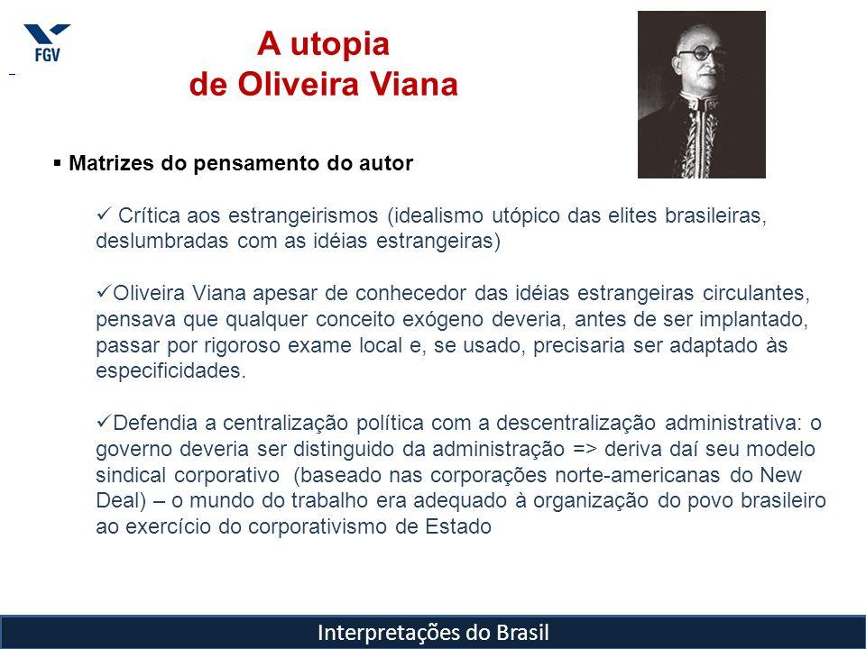 Interpretações do Brasil A utopia de Oliveira Viana Matrizes do pensamento do autor Crítica aos estrangeirismos (idealismo utópico das elites brasilei
