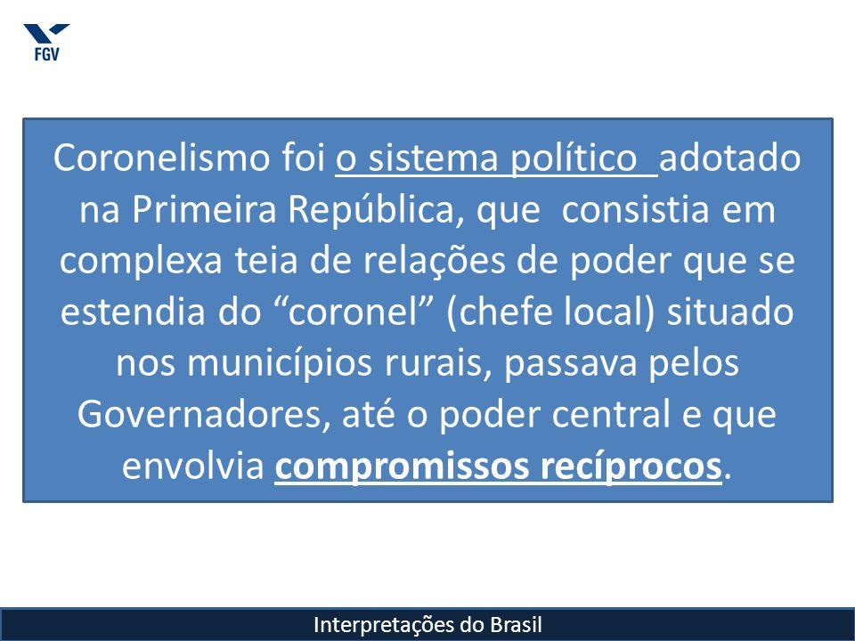 Interpretações do Brasil Coronelismo foi o sistema político adotado na Primeira República, que consistia em complexa teia de relações de poder que se