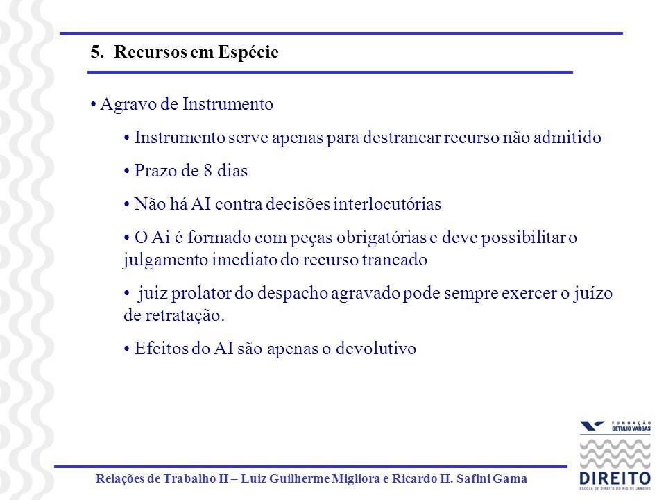 Relações de Trabalho II – Luiz Guilherme Migliora e Ricardo H. Safini Gama 5. Recursos em Espécie Agravo de Instrumento Instrumento serve apenas para