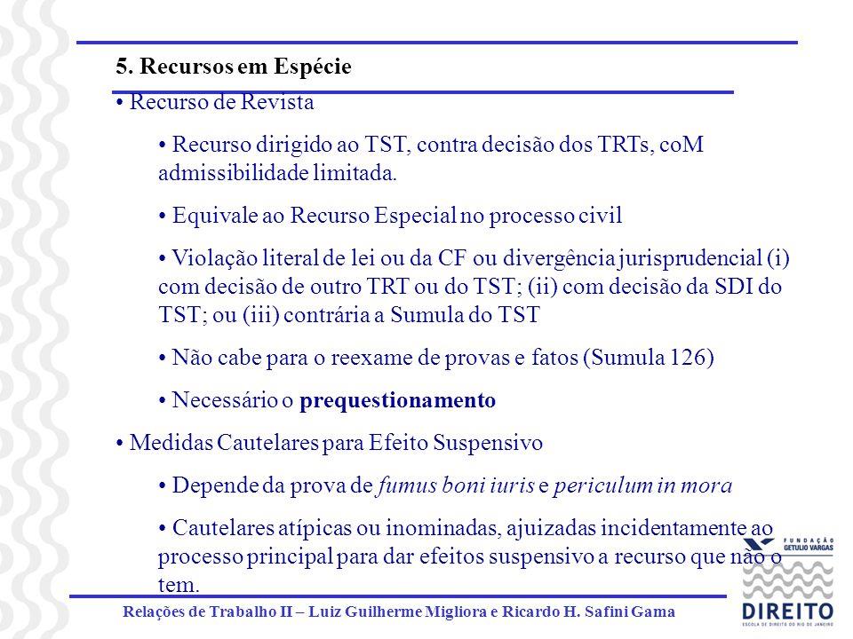 Relações de Trabalho II – Luiz Guilherme Migliora e Ricardo H. Safini Gama 5. Recursos em Espécie Recurso de Revista Recurso dirigido ao TST, contra d