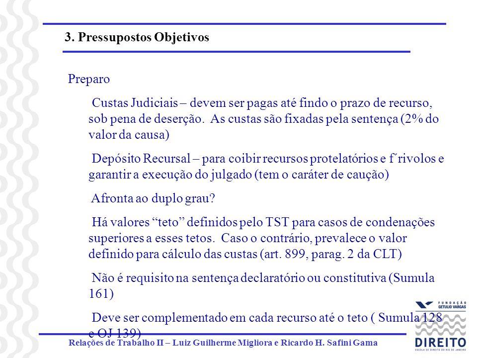 Relações de Trabalho II – Luiz Guilherme Migliora e Ricardo H. Safini Gama 3. Pressupostos Objetivos Preparo Custas Judiciais – devem ser pagas até fi