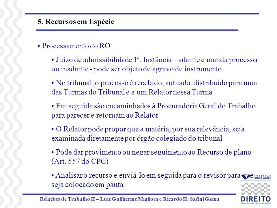 Relações de Trabalho II – Luiz Guilherme Migliora e Ricardo H. Safini Gama 5. Recursos em Espécie Processamento do RO Juízo de admissibilidade 1ª. Ins