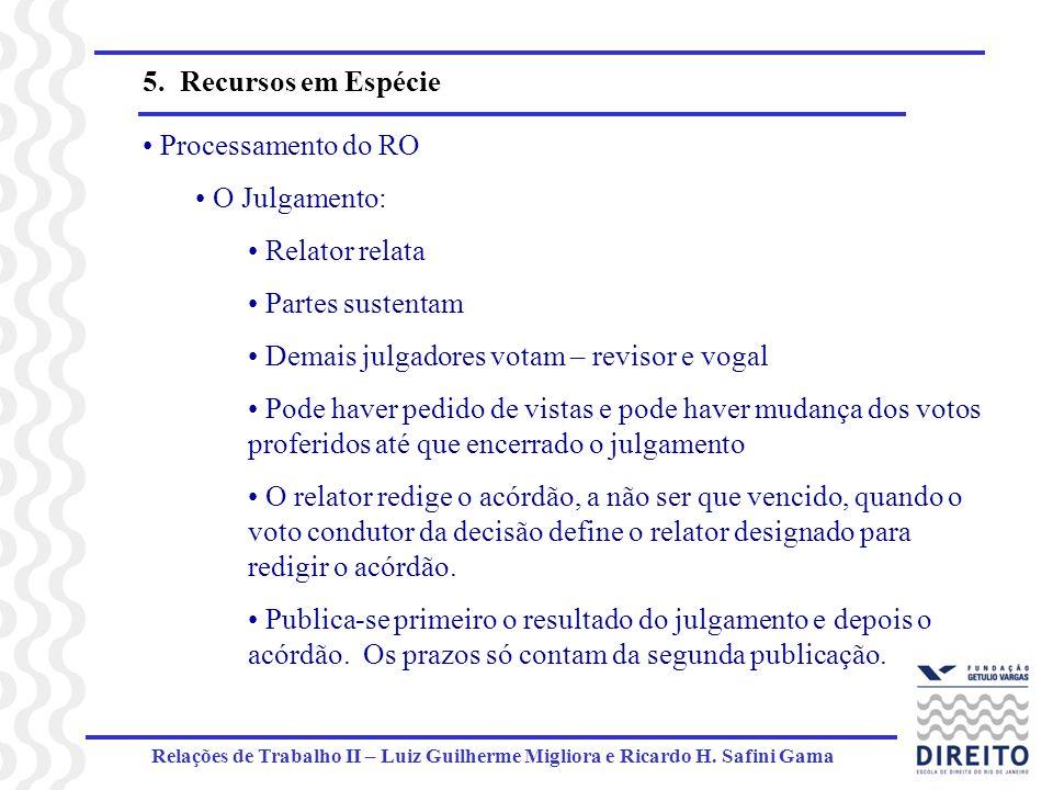 Relações de Trabalho II – Luiz Guilherme Migliora e Ricardo H. Safini Gama 5. Recursos em Espécie Processamento do RO O Julgamento: Relator relata Par