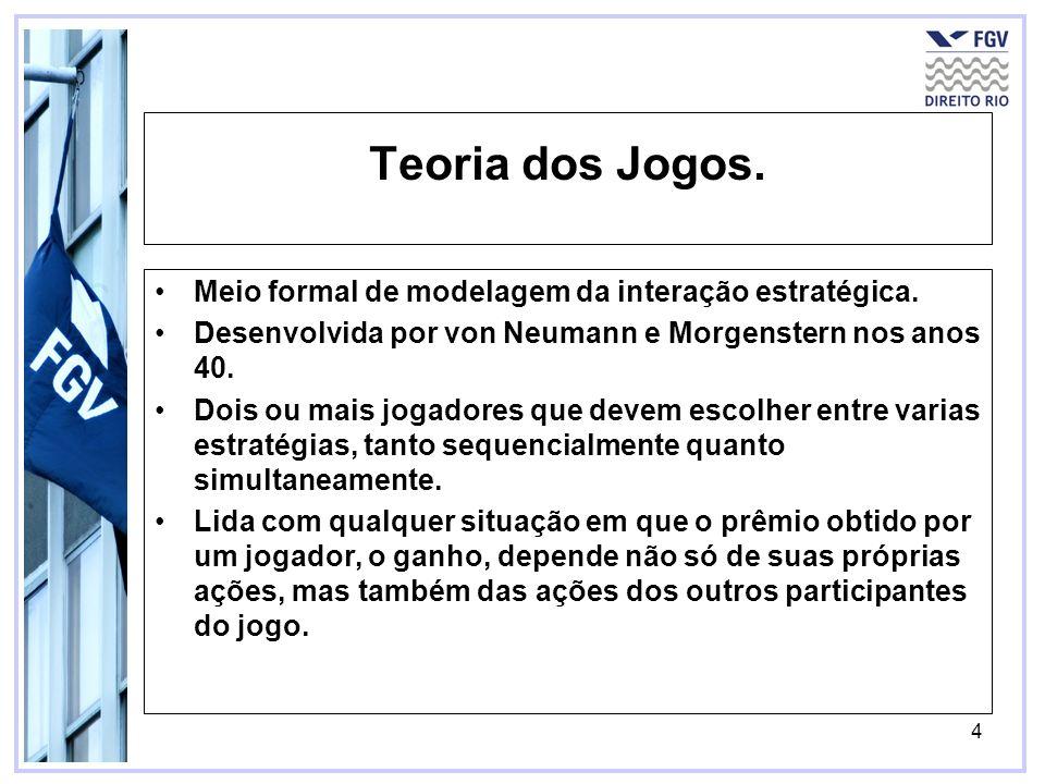 4 Teoria dos Jogos. Meio formal de modelagem da interação estratégica. Desenvolvida por von Neumann e Morgenstern nos anos 40. Dois ou mais jogadores