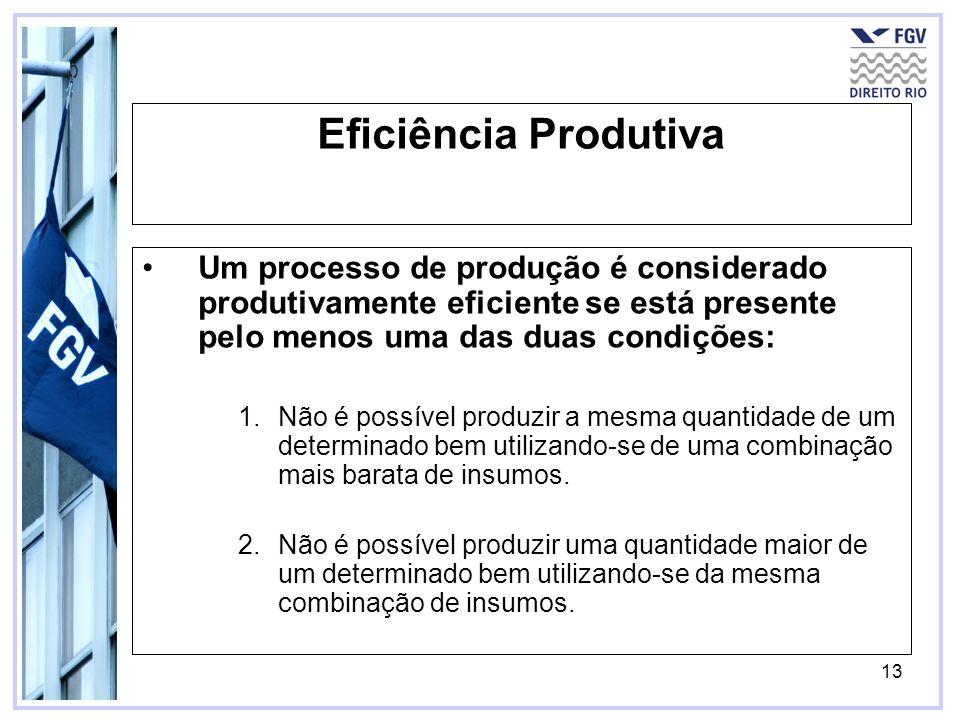13 Eficiência Produtiva Um processo de produção é considerado produtivamente eficiente se está presente pelo menos uma das duas condições: 1.Não é pos