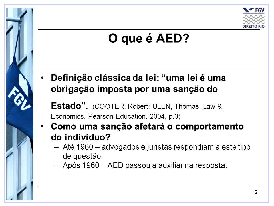 2 O que é AED? Definição clássica da lei: uma lei é uma obrigação imposta por uma sanção do Estado. (COOTER, Robert; ULEN, Thomas. Law & Economics. Pe