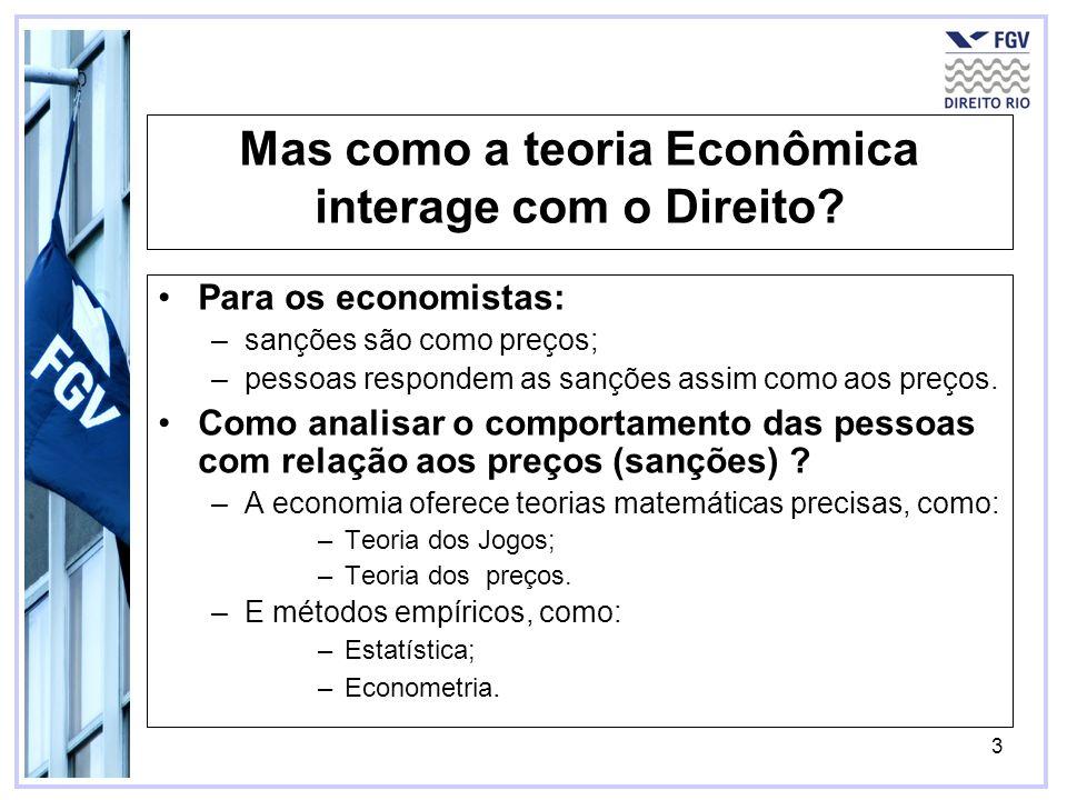 3 Mas como a teoria Econômica interage com o Direito? Para os economistas: –sanções são como preços; –pessoas respondem as sanções assim como aos preç