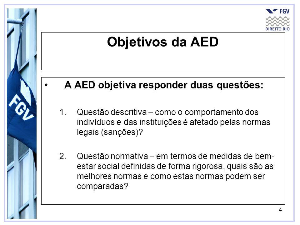 4 Objetivos da AED A AED objetiva responder duas questões: 1.Questão descritiva – como o comportamento dos indivíduos e das instituições é afetado pel