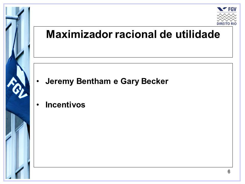 6 Maximizador racional de utilidade Jeremy Bentham e Gary Becker Incentivos
