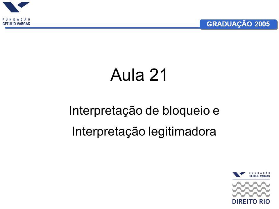 GRADUAÇÃO 2005 Aula 21 Interpretação de bloqueio e Interpretação legitimadora