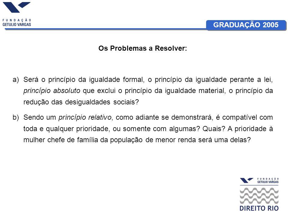 GRADUAÇÃO 2005 Os Problemas a Resolver: a)Será o princípio da igualdade formal, o princípio da igualdade perante a lei, princípio absoluto que exclui o princípio da igualdade material, o princípio da redução das desigualdades sociais.
