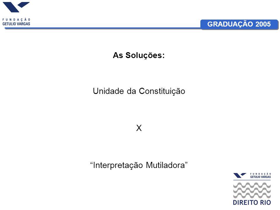 GRADUAÇÃO 2005 As Soluções: Unidade da Constituição X Interpretação Mutiladora