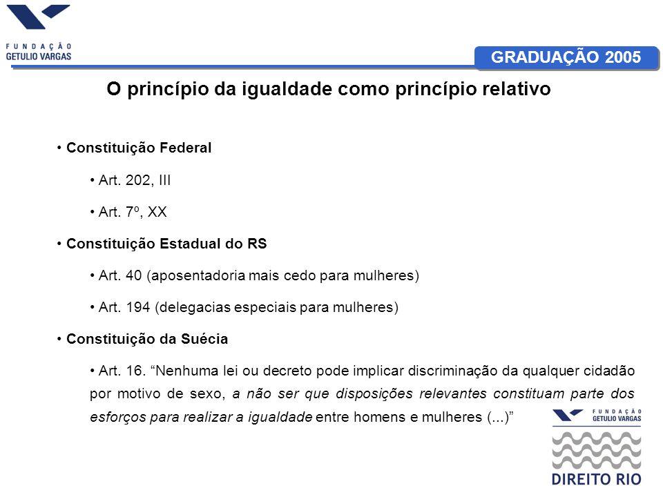 GRADUAÇÃO 2005 O princípio da igualdade como princípio relativo Constituição Federal Art.
