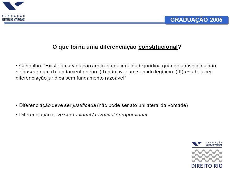 GRADUAÇÃO 2005 O que torna uma diferenciação constitucional.