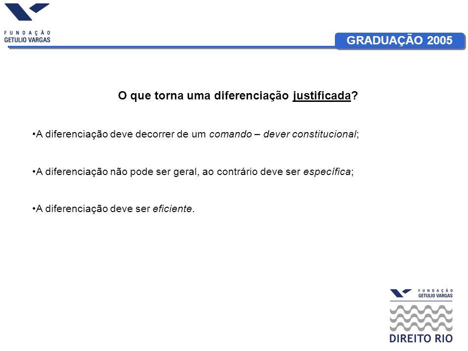 GRADUAÇÃO 2005 O que torna uma diferenciação justificada.