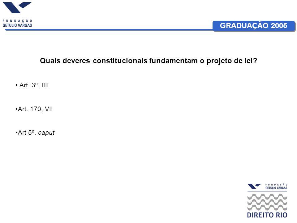 GRADUAÇÃO 2005 Quais deveres constitucionais fundamentam o projeto de lei.