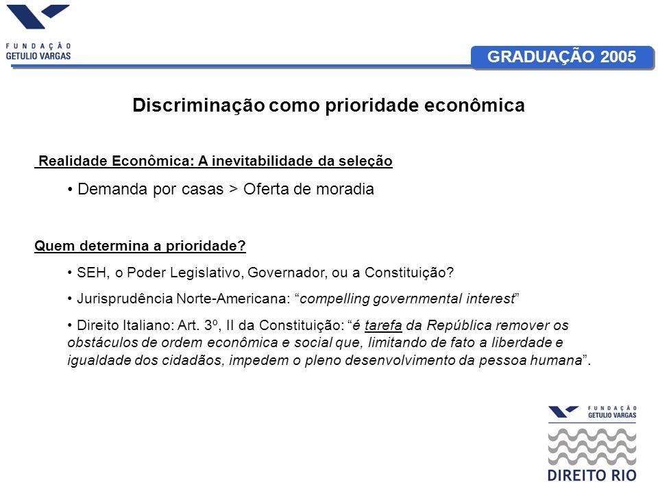 GRADUAÇÃO 2005 Discriminação como prioridade econômica Realidade Econômica: A inevitabilidade da seleção Demanda por casas > Oferta de moradia Quem determina a prioridade.