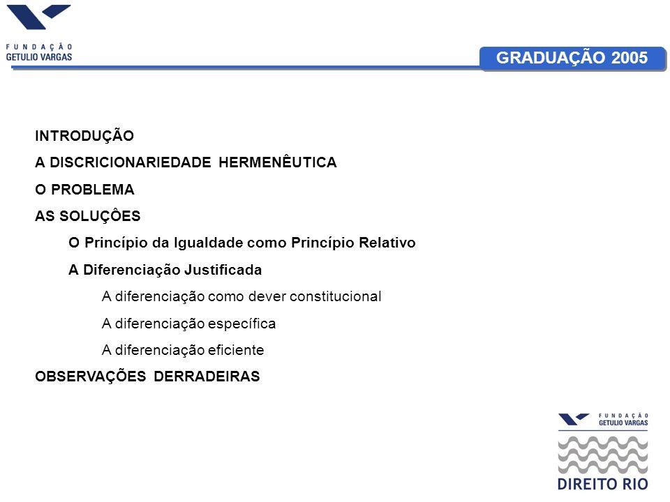GRADUAÇÃO 2005 INTRODUÇÃO A DISCRICIONARIEDADE HERMENÊUTICA O PROBLEMA AS SOLUÇÔES O Princípio da Igualdade como Princípio Relativo A Diferenciação Justificada A diferenciação como dever constitucional A diferenciação específica A diferenciação eficiente OBSERVAÇÕES DERRADEIRAS