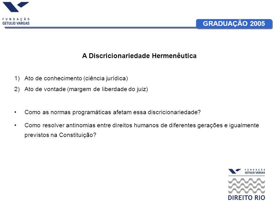 GRADUAÇÃO 2005 A Discricionariedade Hermenêutica 1)Ato de conhecimento (ciência jurídica) 2)Ato de vontade (margem de liberdade do juiz) Como as normas programáticas afetam essa discricionariedade.