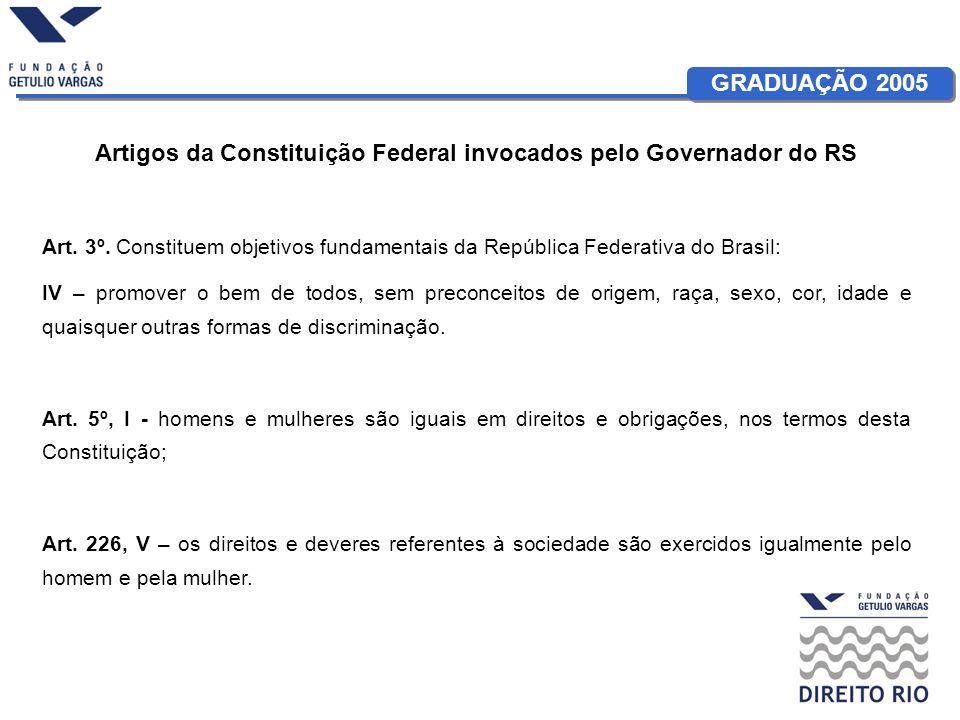 GRADUAÇÃO 2005 Artigos da Constituição Federal invocados pelo Governador do RS Art.