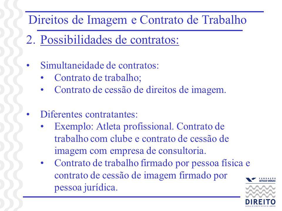 Direitos de Imagem e Contrato de Trabalho 2.Possibilidades de contratos: Simultaneidade de contratos: Contrato de trabalho; Contrato de cessão de direitos de imagem.