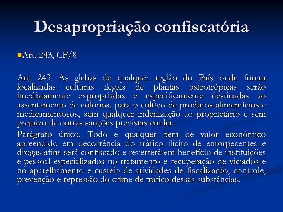 Desapropriação confiscatória Art. 243, CF/8 Art. 243, CF/8 Art. 243. As glebas de qualquer região do País onde forem localizadas culturas ilegais de p