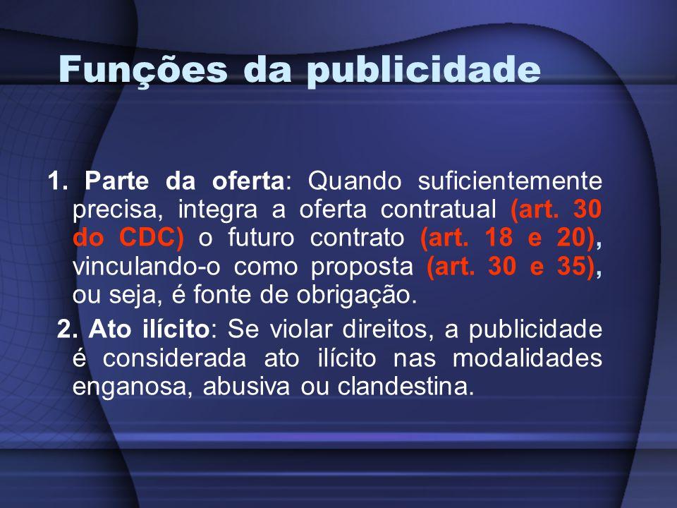 Funções da publicidade 1. Parte da oferta: Quando suficientemente precisa, integra a oferta contratual (art. 30 do CDC) o futuro contrato (art. 18 e 2