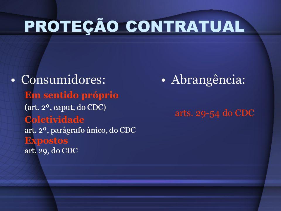 PROTEÇÃO CONTRATUAL Consumidores: Em sentido próprio (art. 2º, caput, do CDC) Coletividade art. 2º, parágrafo único, do CDC Expostos art. 29, do CDC A