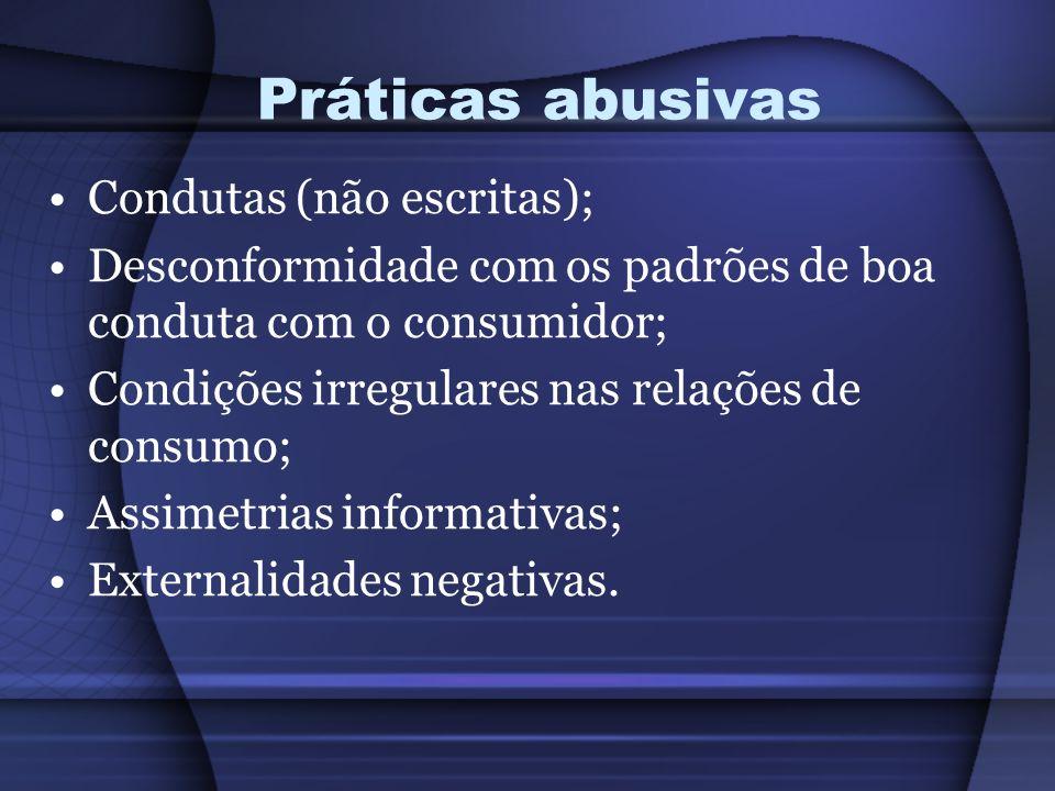 Práticas abusivas Condutas (não escritas); Desconformidade com os padrões de boa conduta com o consumidor; Condições irregulares nas relações de consu