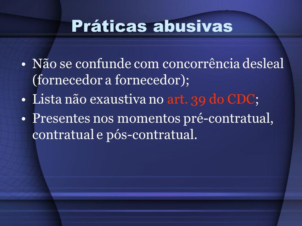 Práticas abusivas Não se confunde com concorrência desleal (fornecedor a fornecedor); Lista não exaustiva no art. 39 do CDC; Presentes nos momentos pr