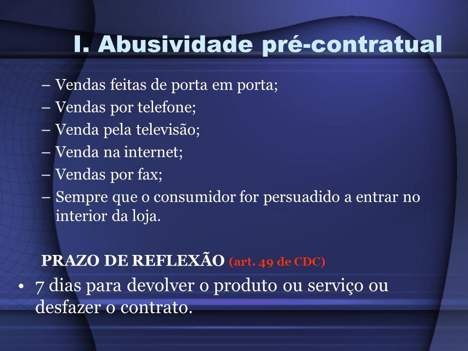 I. Abusividade pré-contratual –Vendas feitas de porta em porta; –Vendas por telefone; –Venda pela televisão; –Venda na internet; –Vendas por fax; –Sem