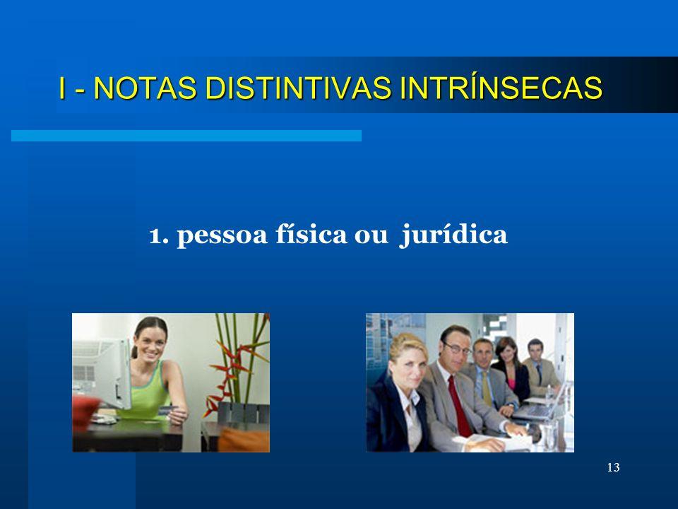 13 I - NOTAS DISTINTIVAS INTRÍNSECAS 1. pessoa física ou jurídica