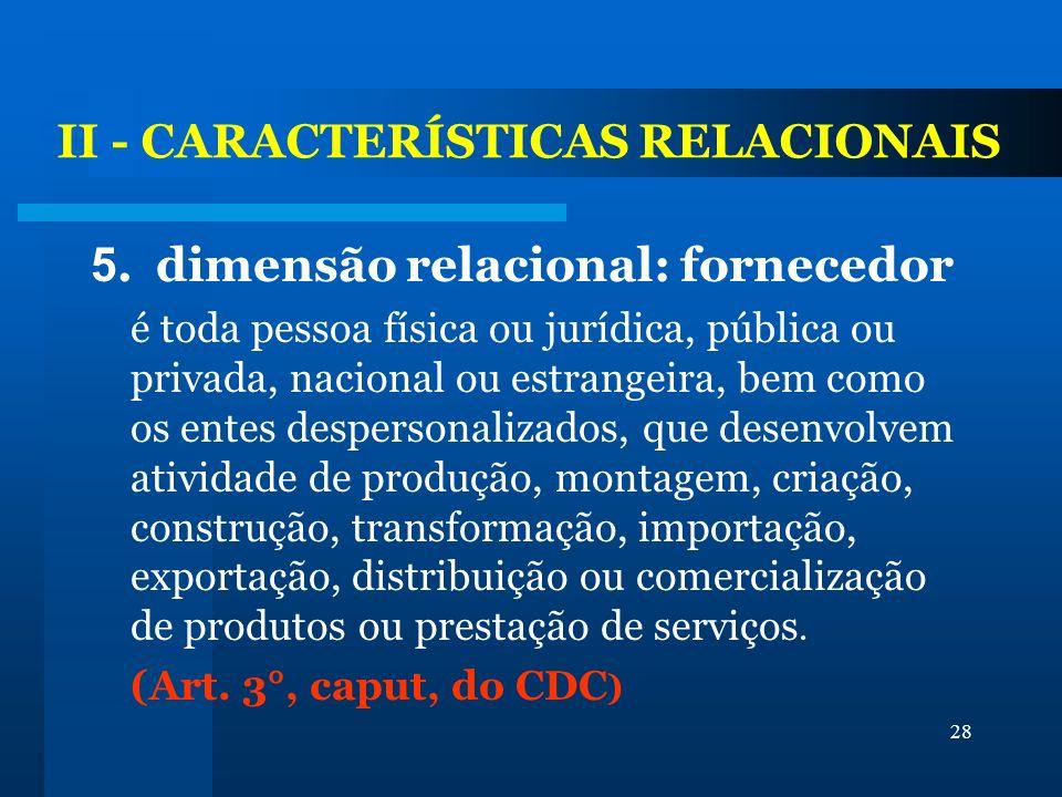 28 II - CARACTERÍSTICAS RELACIONAIS 5. dimensão relacional: fornecedor é toda pessoa física ou jurídica, pública ou privada, nacional ou estrangeira,