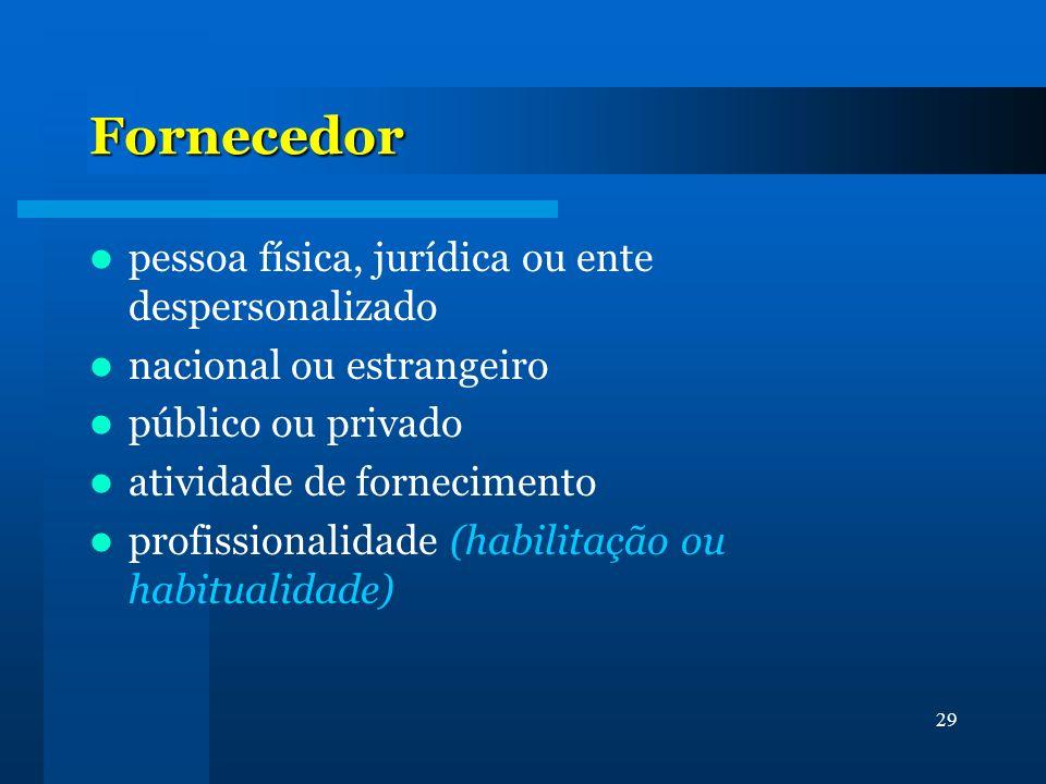 29 Fornecedor pessoa física, jurídica ou ente despersonalizado nacional ou estrangeiro público ou privado atividade de fornecimento profissionalidade