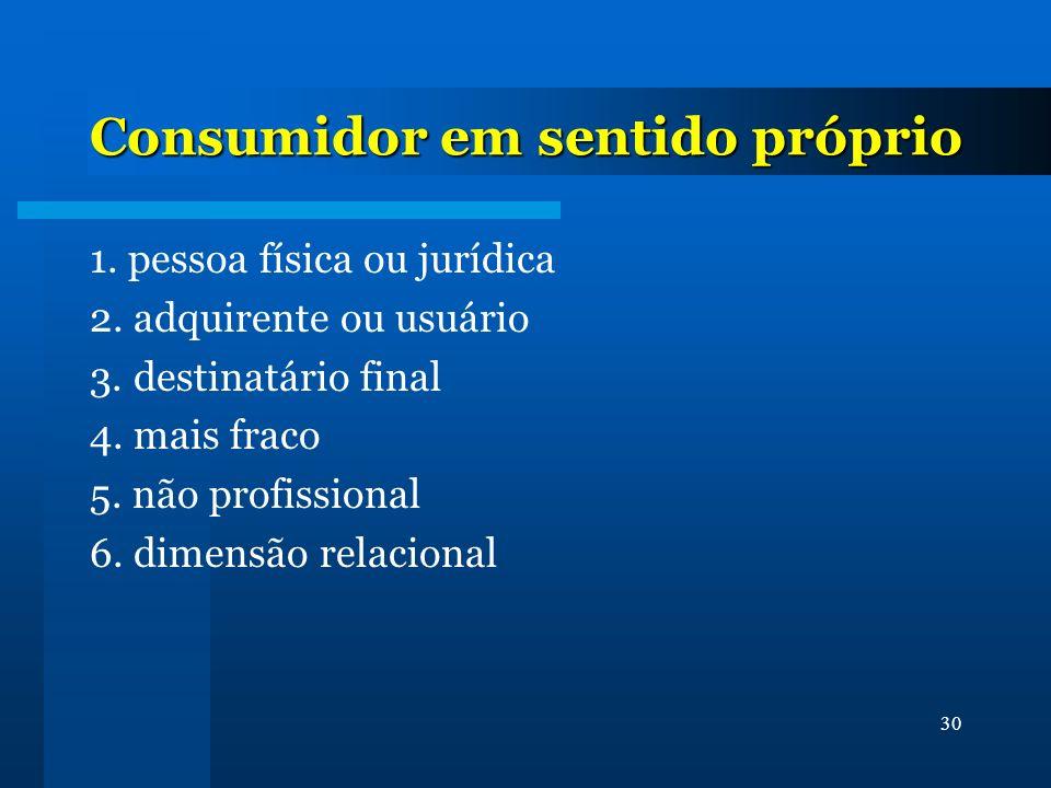30 Consumidor em sentido próprio 1. pessoa física ou jurídica 2. adquirente ou usuário 3. destinatário final 4. mais fraco 5. não profissional 6. dime